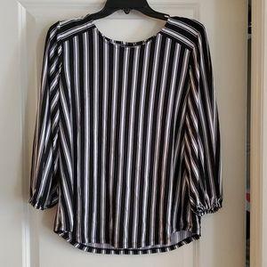 Black and White Stripe Balloon Sleeve Top